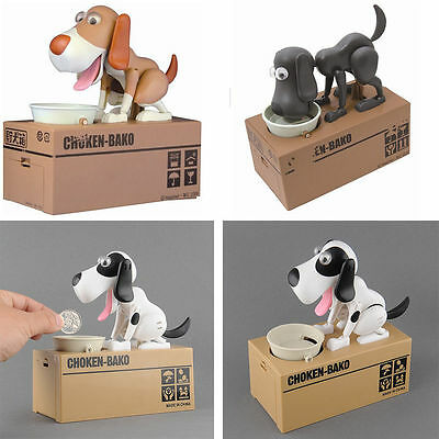 S#NEW Choken Hungry Eating Dog Coin Bank Saving Box Piggy Bank Kids Gi&W