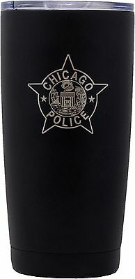 Chicago Police Star Tumbler Stainless Steel Black Coated W/Clear Lid 20oz.