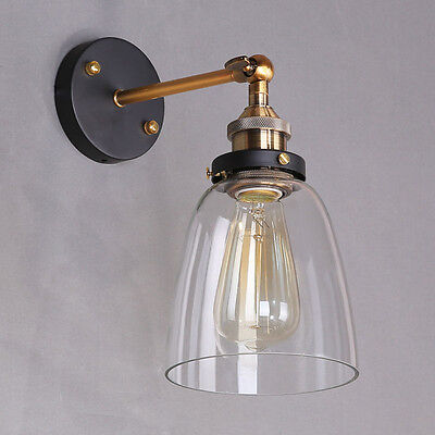 Industrial Style Clear Glass Wall Lamp Antique Brass Vintage Sconce Light Lamp