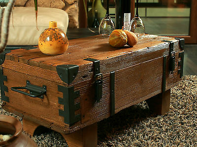 Old Chest Box Table shabby chic Wood Side table Wooden chest Coffee table 3A