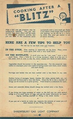 """Cooking After a """"Blitz"""" Leaflet World War II 1939-1945 Home Front The Blitz"""