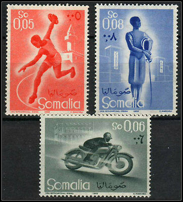 SOMALIA 1958. Sc 223-225. Sports. MNH. Definitive.