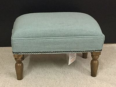 Footstool upholstered in a Laura Ashley fabric Dalton duck egg