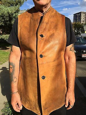 mens large Cohen Bros. 1918 WW1 brown leather wool 4 button military jerkin vest