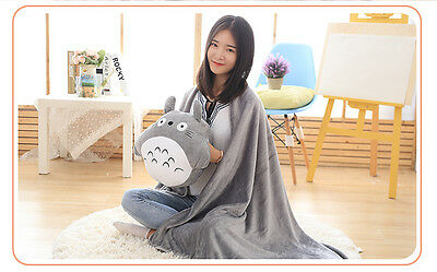 My Neighbor Totoro Pillow within Blanket Hand Warm Cushion Grey