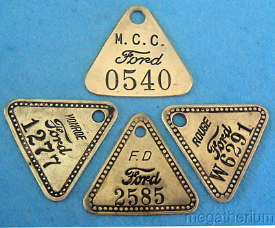 4 Different FORD Tool Check Tags: Highland Park, Rouge, MCC, Monroe; Great Value