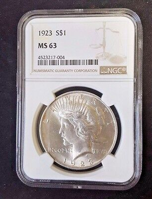 1923 Peace Silver Dollar S$1 Ngc Ms 63