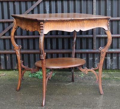 A Quality Edwardian Carved Oak Two Tier Occasional Window Table