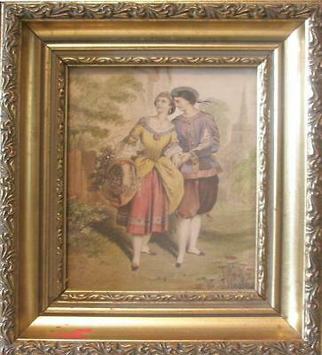 A C19th Gilt Framed Coloured Engraving Courting Couple Lovers