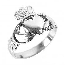 Traditional Ladies Sterling Silver Claddagh Ring, Handmade in Ireland - RRP £25