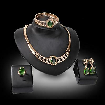 Fashion 18K Gold Plated Women Wedding Jewelry Set Crystal Necklace Ring Earrings
