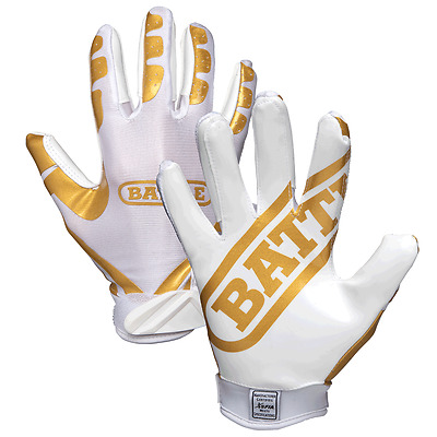 Battle Sports Ultra-Stick Football Receivers Gloves (Pair) Gold/White