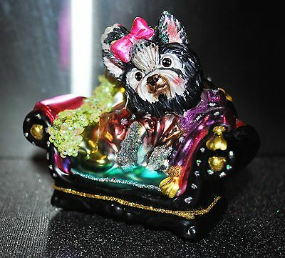 Fashion Dressed DOG PUPPY Terrier Chair GLASS Girl Christmas/Holiday Ornament
