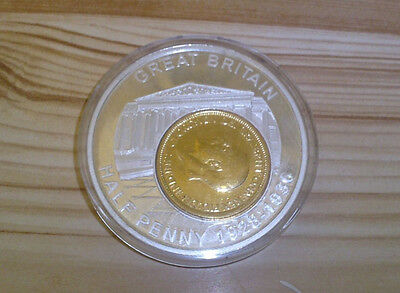 Gold Coloured Cased George V Great Britain Half Penny.dated 1936. Pristine .