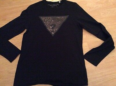 Guess Mens Gents Graphic T-Shirt Crew Neck Long Sleeved Top Tshirt