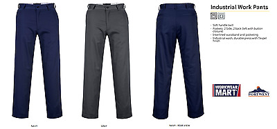 Work Pants Men Industrial Military Trouser, Navy Gray 30-52 Portwest 2886
