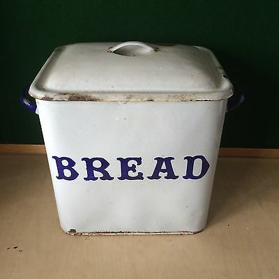 Vintage Enamel Bread Bin Blue & White Country Kitchen