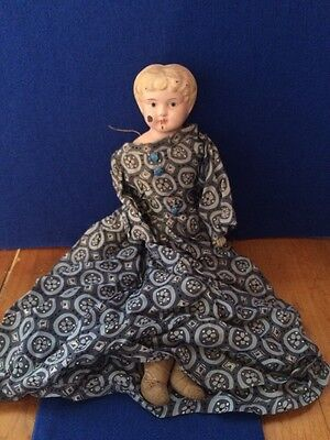 "Antique Late 1800s/Early 1900s Minerva 13"" Doll Tin/Metal Head Jointed Body"