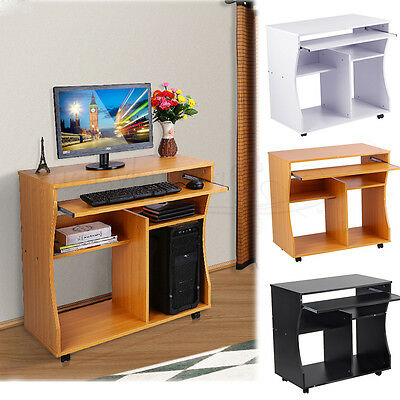Wood Computer Desk With Cupboard Workstation Laptop Table Home Office Furniture