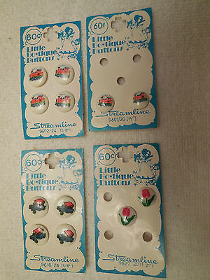 Vintage Lot - Little Bo-tique Plastic Buttons - Choo Choo Trains, Tulips & Cars