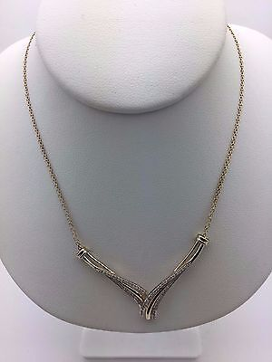 """New 10K Yellow Gold 16"""" Chain Necklace with V Shaped Diamonds Accent Pendant"""