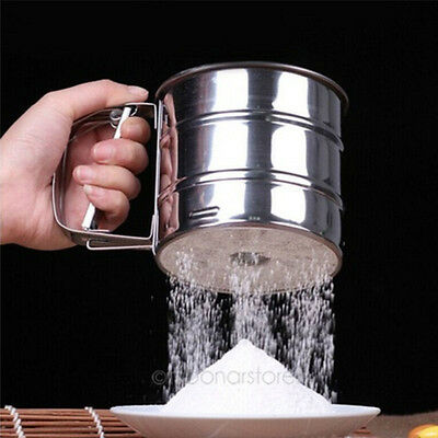 Stainless Steel Mesh Flour Sifter Mechanical Baking Icing Sugar Shaker Tools