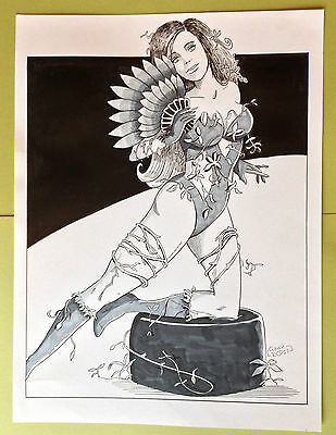 Poison Ivy - Original Comic Art Drawing. Hand drawn pen and ink