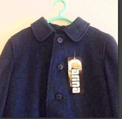 Vintage Childrens Deadstock 1960s Blue Brushed Wool Winter Coat Mod Tailored 5-6