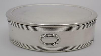 Vintage Solid Silver HEAVY BIG Oval Box - Stamped - Made in Italy