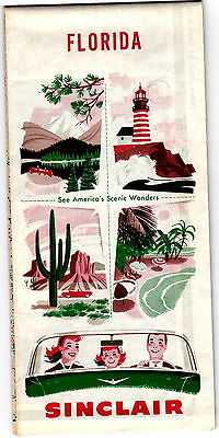 1956 Sinclair Oil Florida Highway Map gdc6