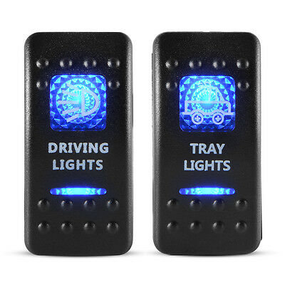 5Pin Tray/Driving Lights Rocker Switch ON-OFF Blue LED 12V/24V for Car Marine