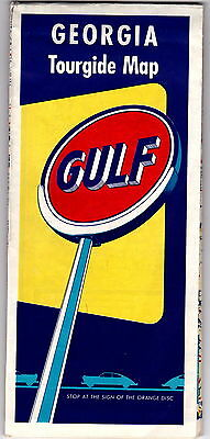 1950s vintage Gulf Oil Georgia Tour Guide Highway Map gdc6