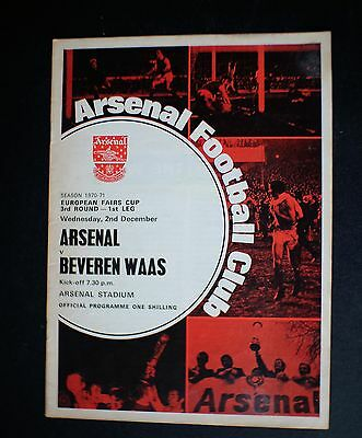 Arsenal Vs Beveren Waas 1970 - 1971 EUROPEAN FAIRS CUP Dec 2nd