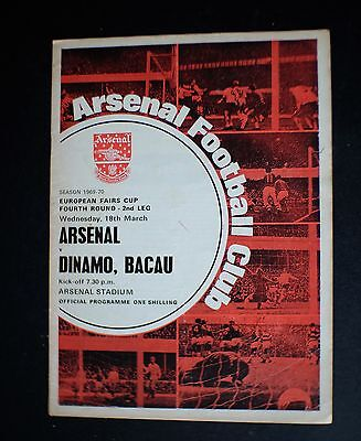 Arsenal Vs Dinamo Bucharest 1969 - 1970 EUROPEAN FAIRS CUP Mar 18th