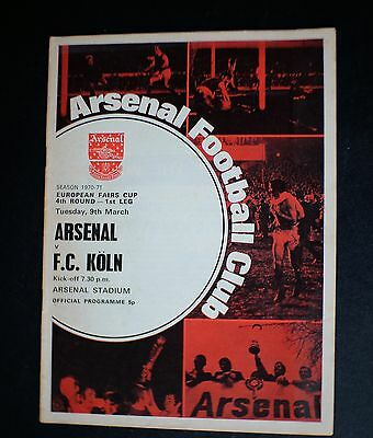 Arsenal Vs F.C. Koln 1970 - 1971 EUROPEAN FAIRS CUP Mar 9th