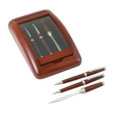 NEW 3 Piece Pen, Pencil Letter Opener in Wood Glass Case set boxed ink