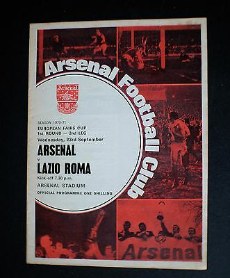 Arsenal Vs Lazio Roma 1970 - 1971 EUROPEAN FAIRS CUP Sept 23rd
