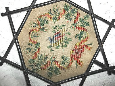 Antique Exquisite Rare Wood Hand Fan Petit Point Needlepoint Embroidered Hand Fa