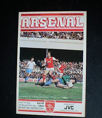 Arsenal Vs Spartak Moscow 1982 - 1983 UEFA Cup Sept 29th