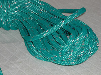 Double Braid Polyester line 7/16x150 ft yacht braid teal green w tracer halyard