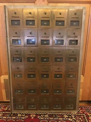 Vintage Post Office USPS PO Cabinet/Unit 30 Brass Boxes/Doors One Piece Display