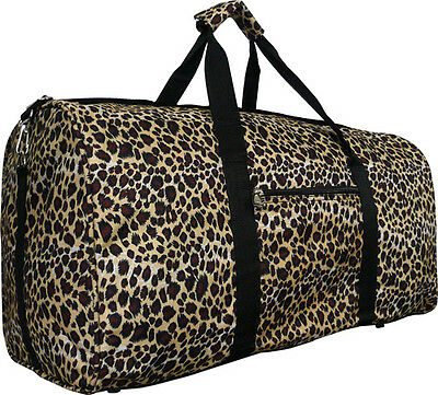 "22"" Women's Leopard Print Gym Dance Cheer Travel Carry On Duffel Bag - Black"