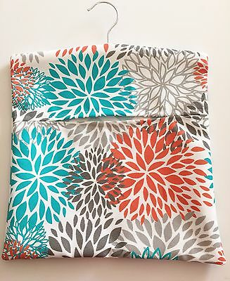 Hopscotch Handmade Peg Bag - Blooms In Turquoise, Orange And Grey