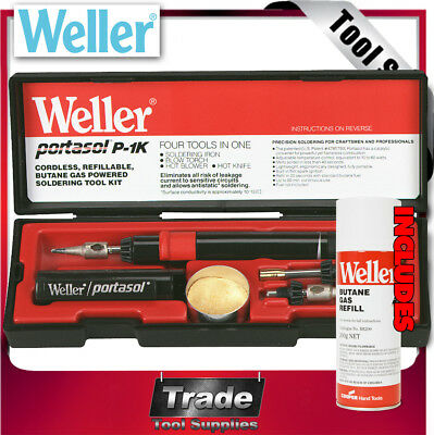 Weller Soldering Iron Cordless Butane Gas Tool Kit P1KC + 200g BUTANE GAS REFILL