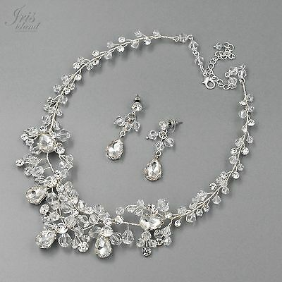Crystal Wire Wrapped Necklace Earrings Bridal Wedding Jewelry Set 04047 Silver