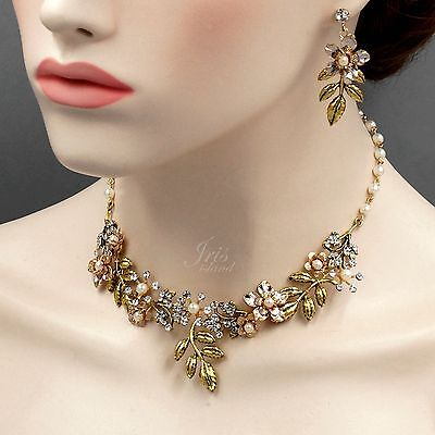 Pearl Crystal Wire Wrapped Necklace Earrings Bridal Wedding Jewelry Set 4037 AGP