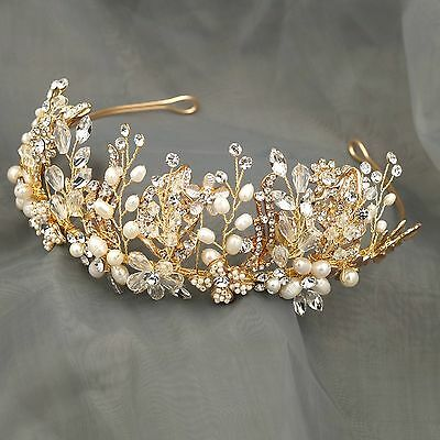 Crystal Freshwater Pearl Headband Headpiece Bridal Wedding  Tiara Crown 029 Gold