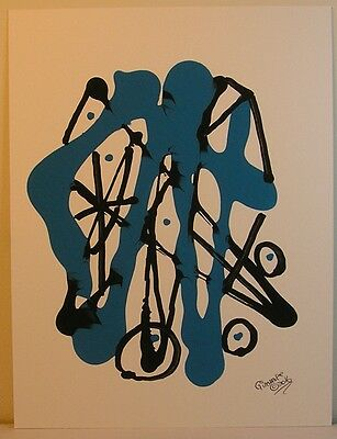 SET of  6 Beautiful Blue and Black Original  Paintings Abstract Contemprary OOAK