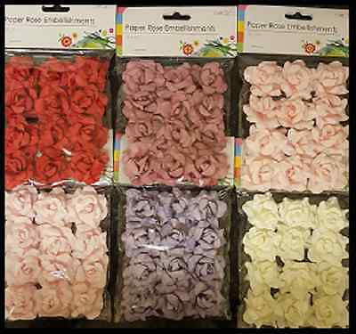 Pack Of 12 Paper Rose Embellishments With Wire Stem 6 Colours