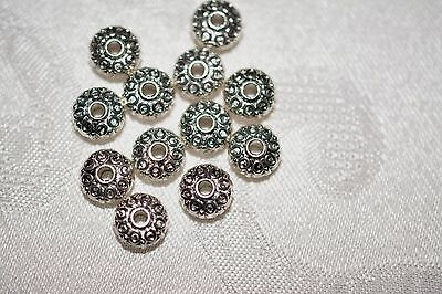 Base Metal Beads - Antique Silver Tone - 8mm Coin Beads Ring Pattern (M0424AS)